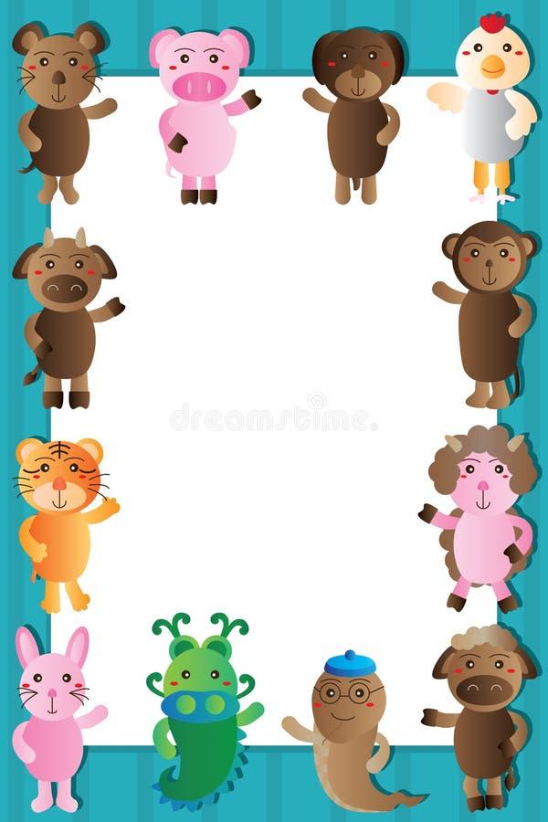 Download Marco Animal Del Blanco Del Zodiaco Ilustración del Vector - Ilustración de fondos, colorido: 64210455
