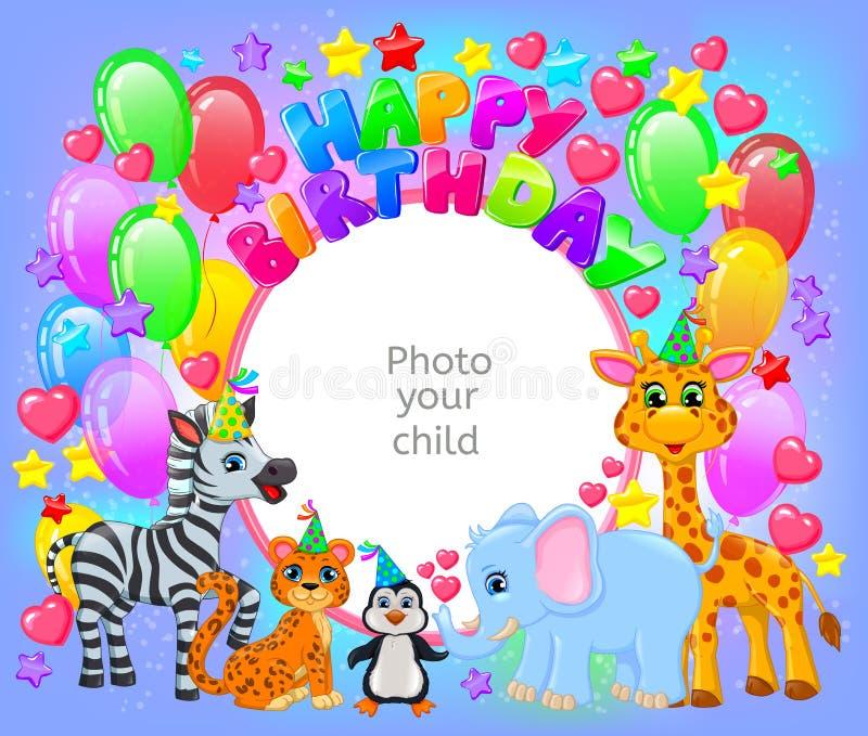 Marco animal lindo de la fiesta de cumpleaños su foto del bebé ilustración del vector