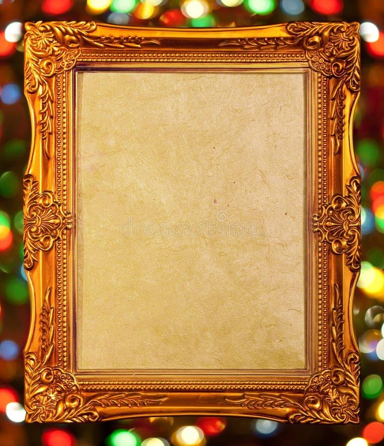 Marco antiguo del oro, fondo abstracto del bokeh imagen de archivo libre de regalías