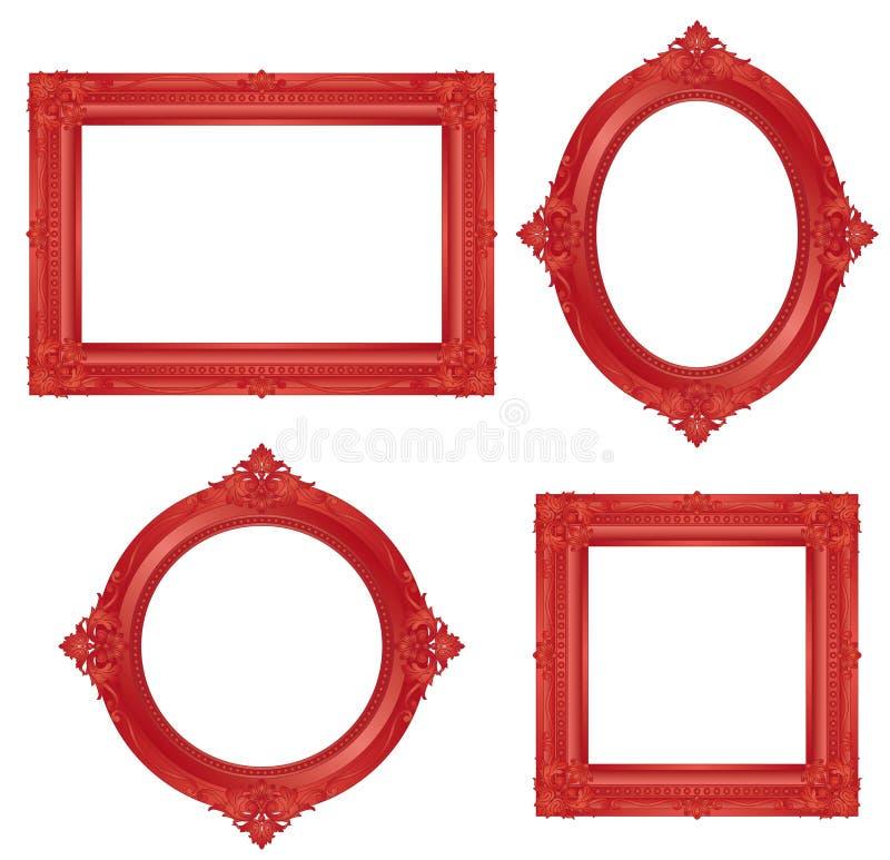 Marco antiguo rojo Graphhics del vector stock de ilustración