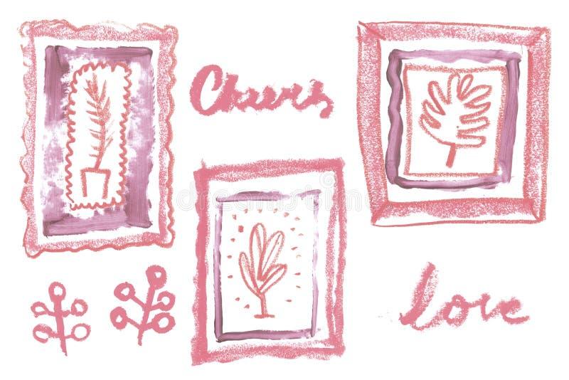 Marco artístico del vintage con la textura cosmética del lápiz labial natural para la creación de la invitación de la boda de la  fotografía de archivo libre de regalías
