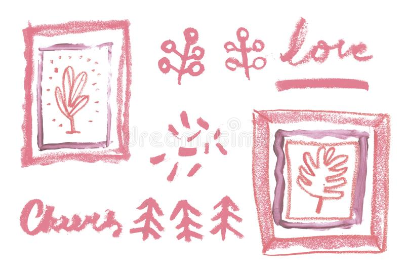 Marco artístico del vintage con la textura cosmética del lápiz labial natural para la creación de la invitación de la boda de la  fotos de archivo libres de regalías