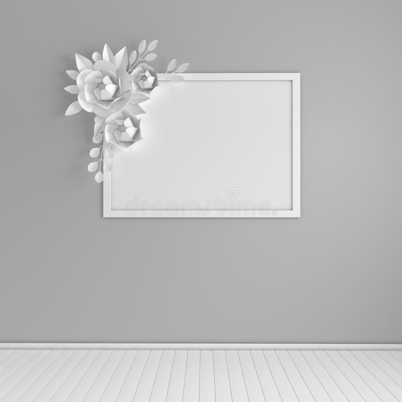 Marco ascendente falso de la foto en interior moderno Decoración de la pared del ramo de las flores de papel y de las hojas 3d ri stock de ilustración