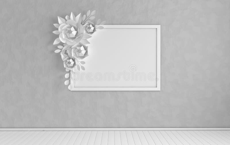 Marco ascendente falso de la foto en interior moderno Decoración de la pared del ramo de las flores de papel y de las hojas 3d ri libre illustration