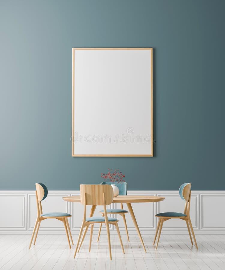Marco ascendente falso del cartel en comedor escandinavo del estilo Dise?o minimalista del comedor ilustraci?n 3D imagenes de archivo