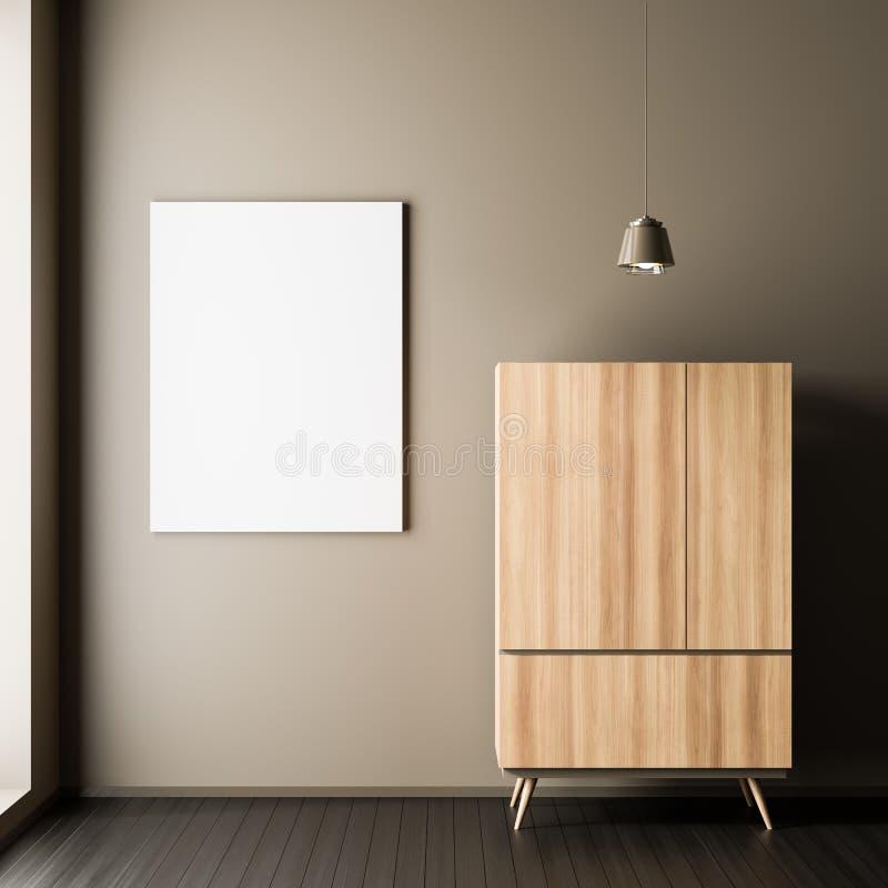 Marco ascendente falso del cartel en el estilo escandinavo interior con el guardarropa de madera Diseño interior minimalista ilus fotografía de archivo libre de regalías