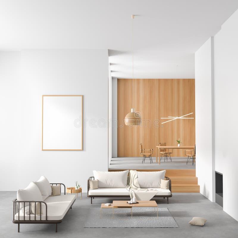 Marco ascendente falso del cartel en el estilo escandinavo interior con la chimenea y la mesa de comedor Dise?o interior minimali libre illustration
