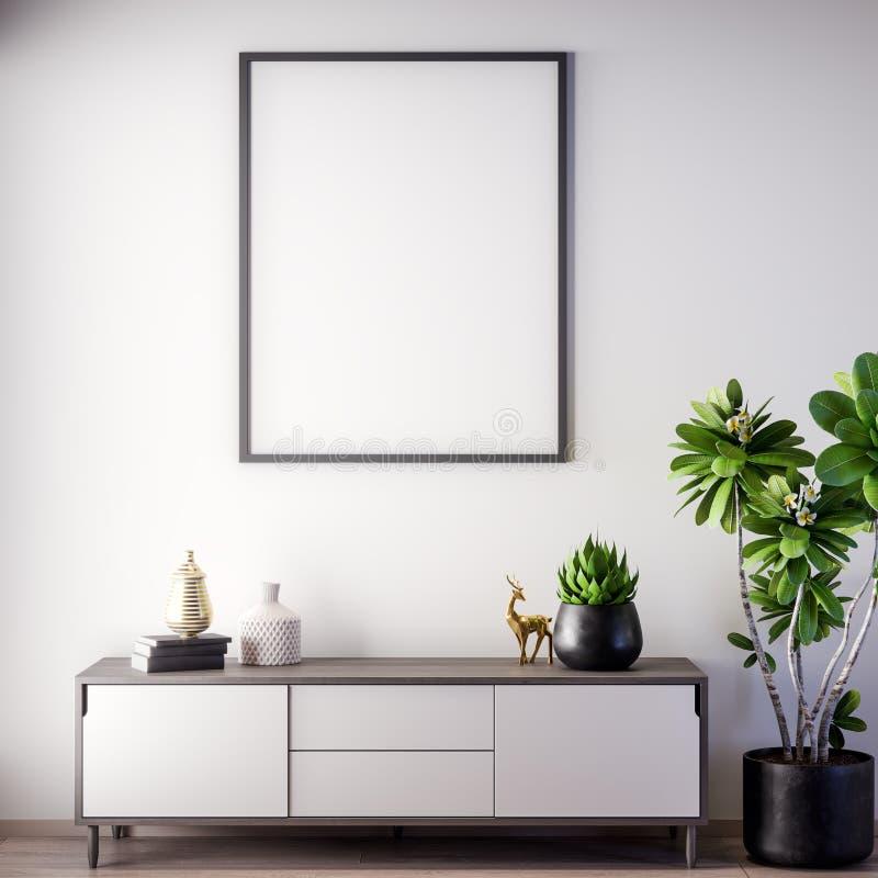 Marco ascendente falso del cartel en el estilo interior, moderno, ejemplo 3D fotografía de archivo libre de regalías