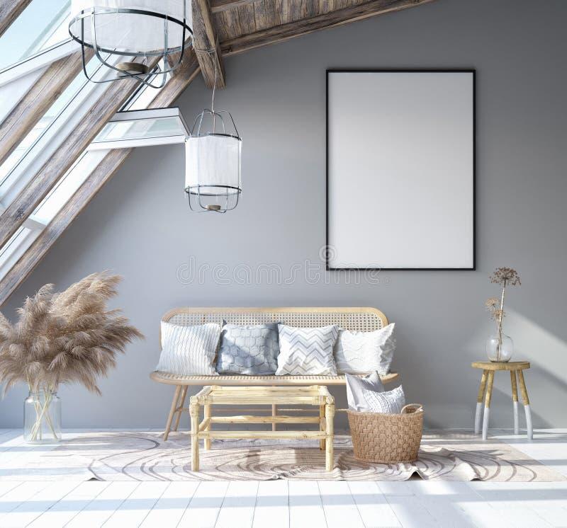 Marco ascendente falso del cartel en el fondo interior casero, sala de estar bohemia escandinava del estilo en ático ilustración del vector