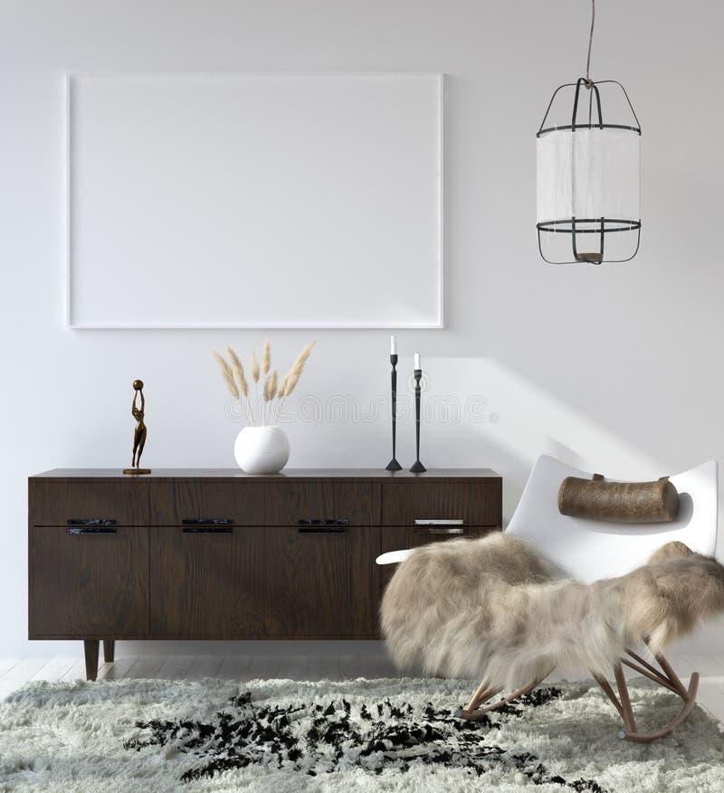 Marco ascendente falso del cartel en el fondo interior casero, sala de estar bohemia del estilo libre illustration
