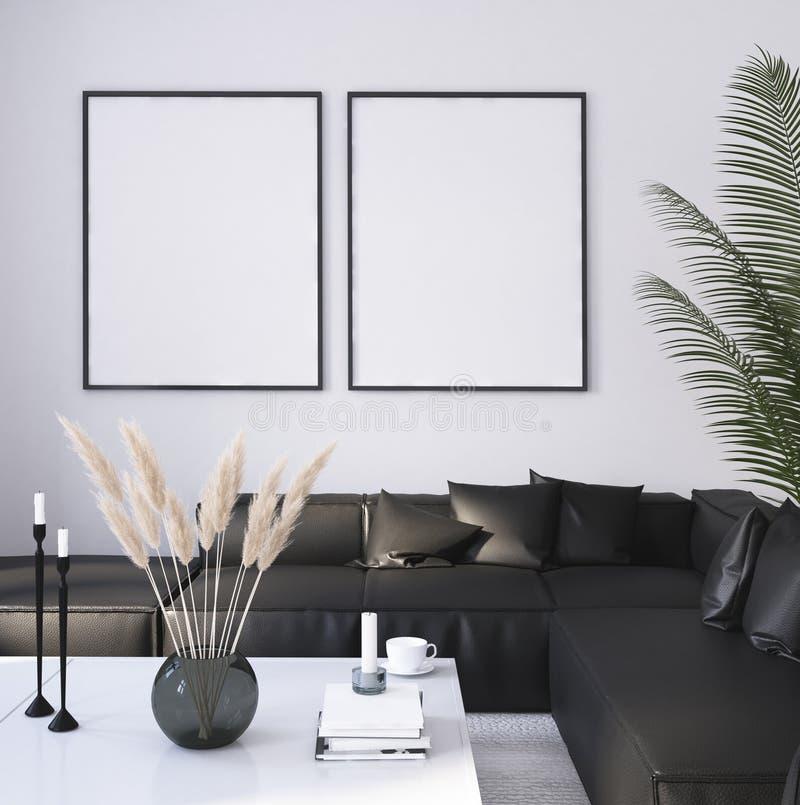 Marco ascendente falso del cartel en el fondo interior casero, sala de estar moderna del estilo libre illustration