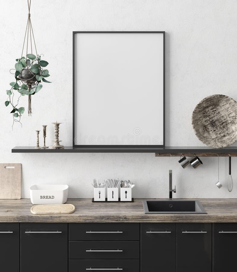 Marco ascendente falso del cartel en el fondo interior de la cocina, estilo ?tnico fotografía de archivo libre de regalías