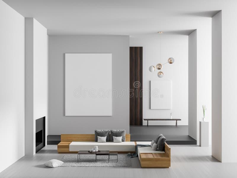 Marco ascendente falso del cartel en interior de lujo espacioso con la chimenea Diseño interior moderno minimalista ilustración 3 ilustración del vector