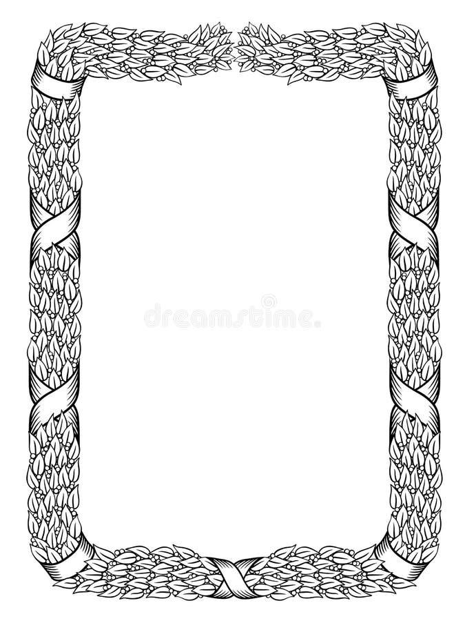 Marco atado guirnalda del negro de la cinta del cuadrado de los laureles ilustración del vector