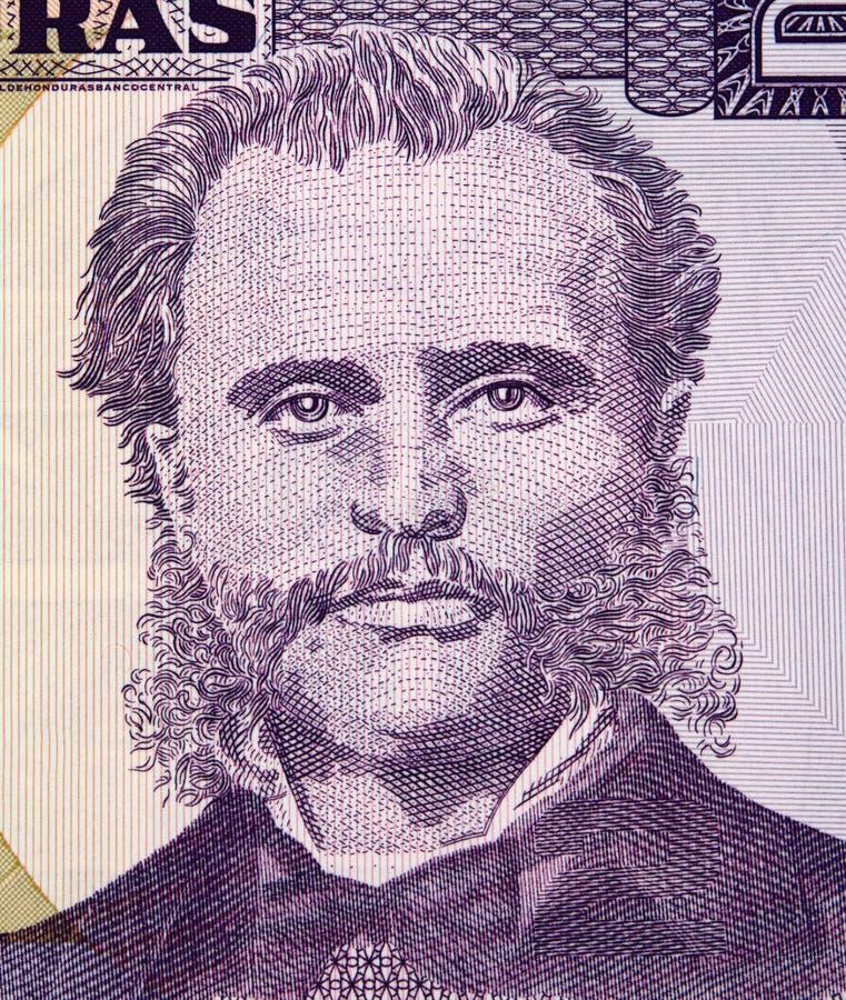 Marco Aurelio Soto en el banknot 2010 de la lempira de la moneda 2 de Honduras foto de archivo libre de regalías