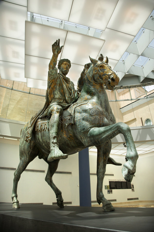 Marco Aurelius en el museo, Roma. imagenes de archivo