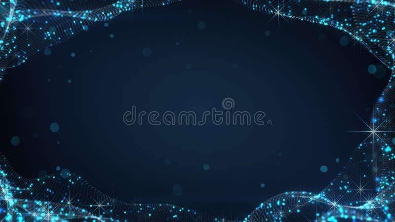 Marco azul de la superficie que agita con las estrellas ilustración del vector
