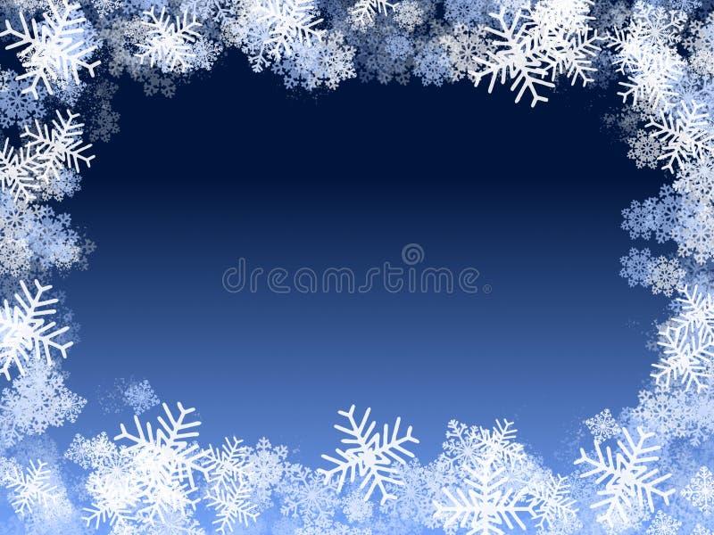 Marco azul de los copos de nieve ilustración del vector