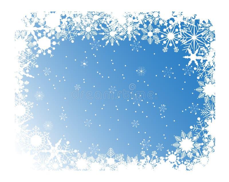 Marco azul de los copos de nieve stock de ilustración