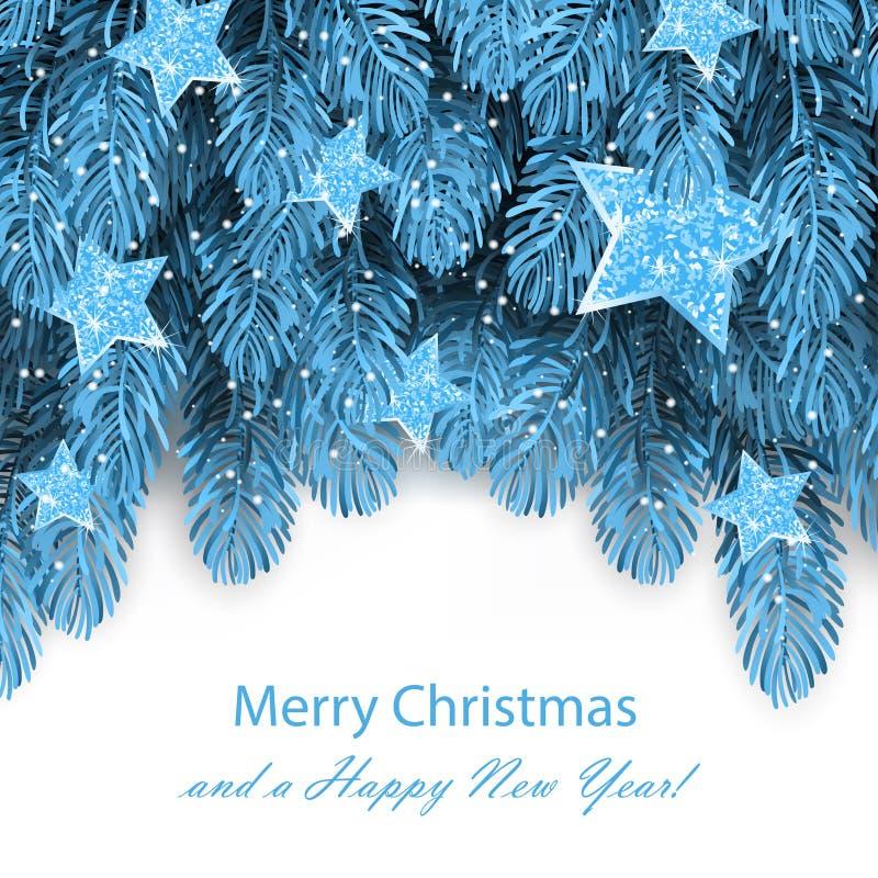Marco azul del árbol de abeto, frontera de las ramas de árbol de navidad stock de ilustración