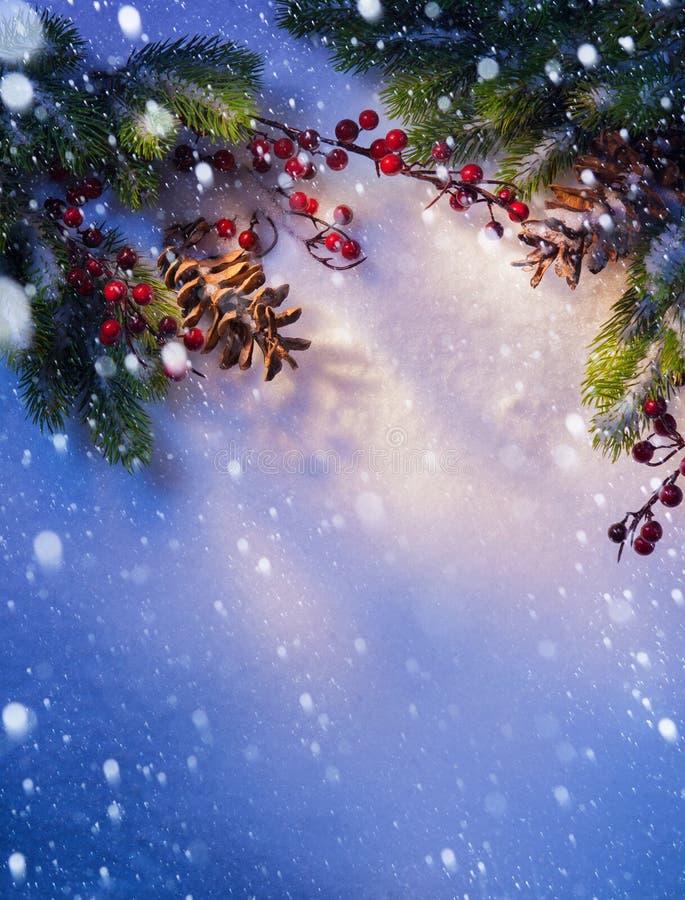 Marco azul del fondo de la Navidad de la nieve del arte fotos de archivo libres de regalías