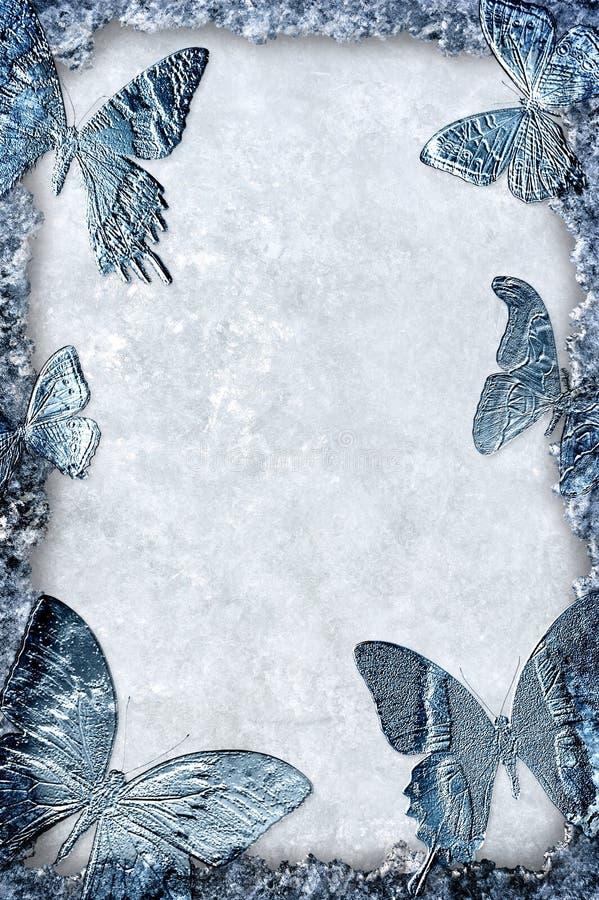 Marco Azul Del Hielo Con El Fondo De Las Mariposas Stock de ...