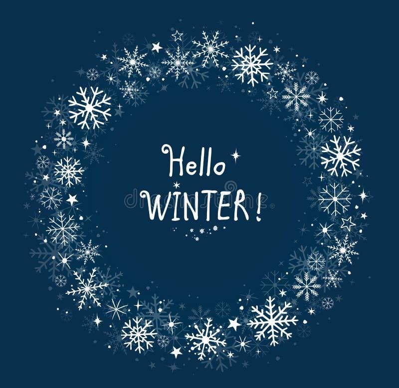 Marco azul del invierno del fondo con los copos de nieve libre illustration