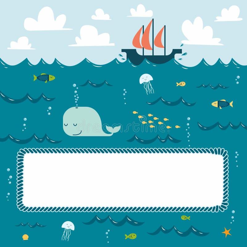 Marco Azul Profundo Del Mar Ilustración del Vector - Ilustración de ...