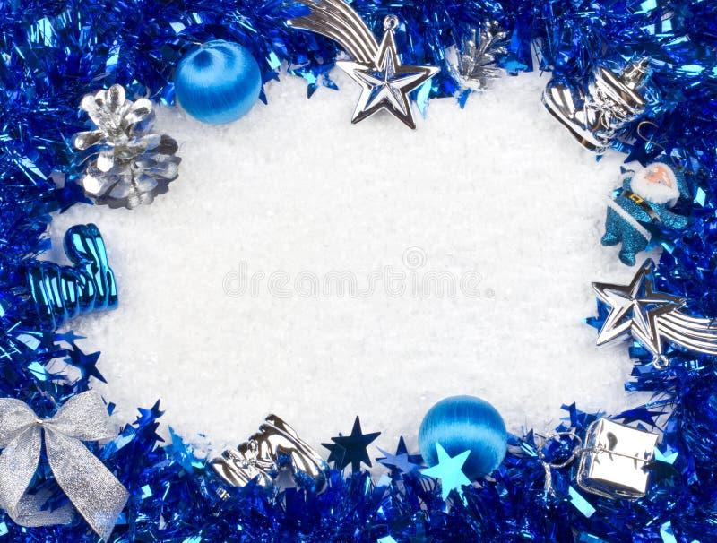 Marco azul y de plata de la Navidad fotografía de archivo