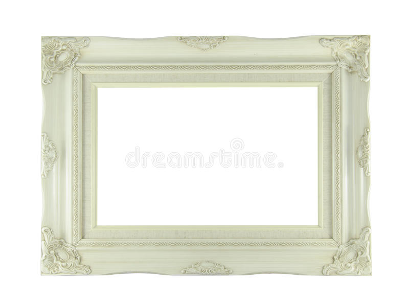 Marco blanco antiguo aislado en el fondo blanco fotografía de archivo