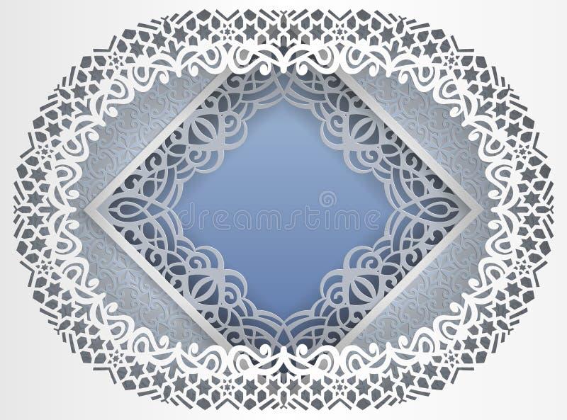 Marco blanco cuadrado en un marco oval con bordes del cordón y un fondo abstracto dentro Plantilla para congratulati que se casa  libre illustration
