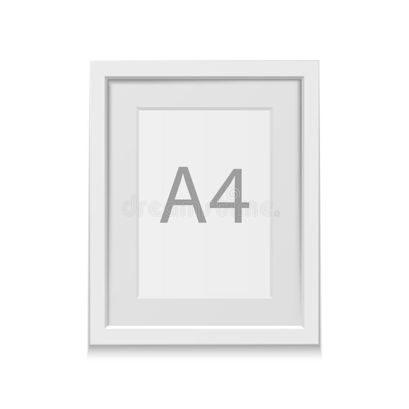 Marco blanco del vector realista para el formato A4 ilustración del vector