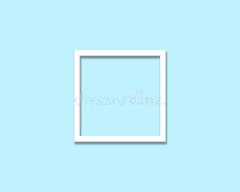 marco blanco en blanco aislado en fondo ciánico imagen de archivo