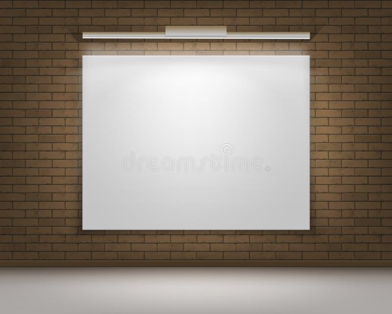 Marco blanco en blanco vacío del cartel del vector en Brown Gray Brick Wall con el piso y la iluminación Front View stock de ilustración