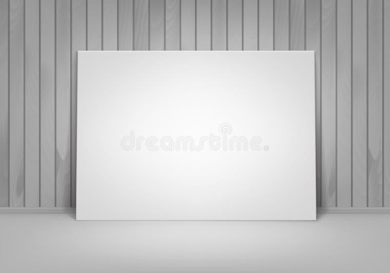 Marco blanco en blanco vacío del cartel del vector que se coloca en piso con la pared de madera Front View stock de ilustración
