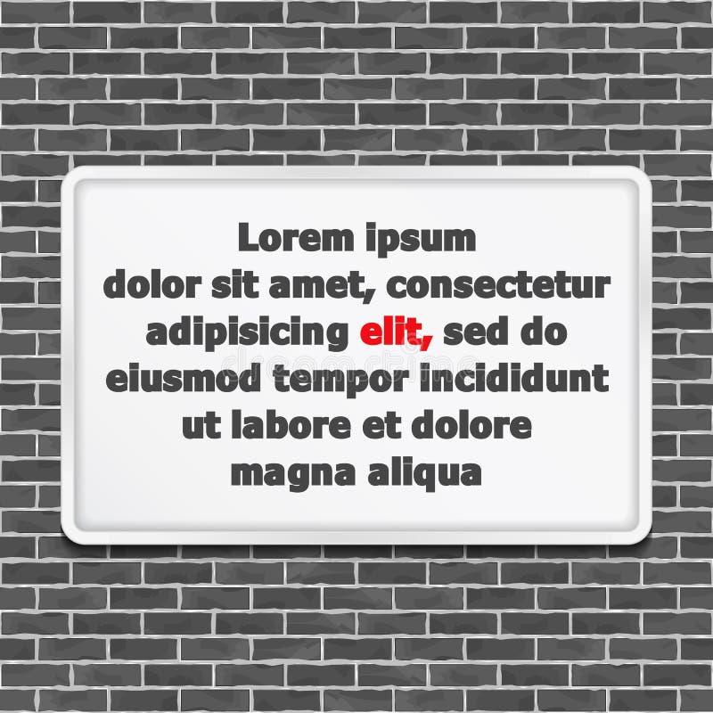 Marco blanco en la pared de ladrillo ilustración del vector