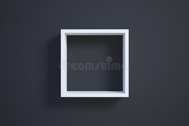 Marco blanco en la pared negra ilustración del vector