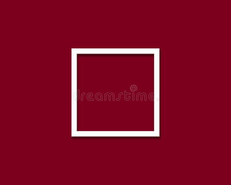 Marco blanco en la pared roja de vino imagen de archivo libre de regalías