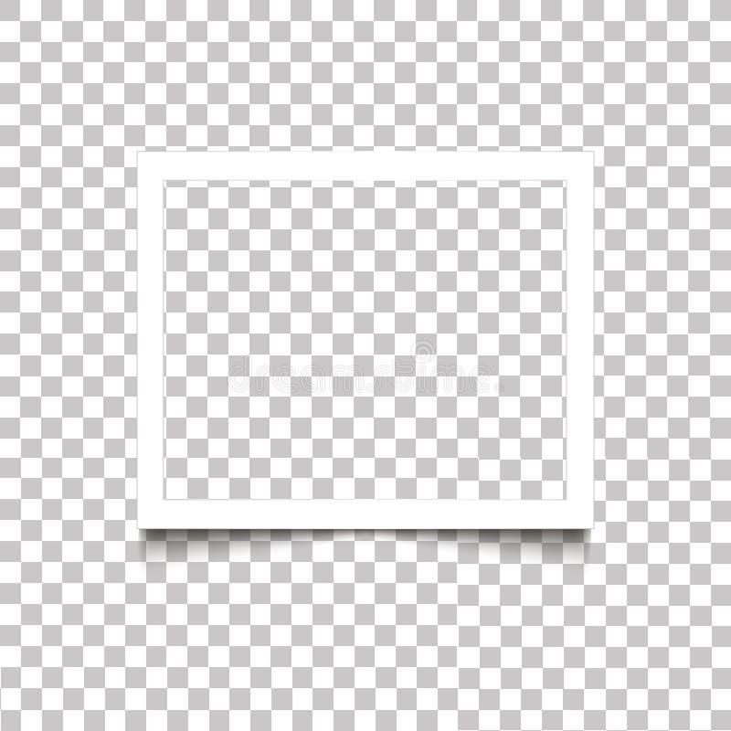 Marco blanco en blanco realista de la foto con la sombra en fondo transparente Vector el desi retro de la foto de la plantilla de ilustración del vector