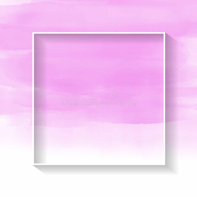 Marco blanco en textura rosada del watercolour libre illustration