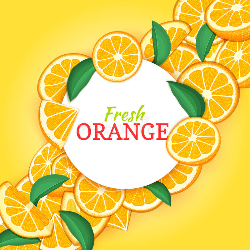 Marco blanco redondo en fondo diagonal anaranjado de la composición de la fruta cítrica Ejemplo de la tarjeta del vector Marco de stock de ilustración