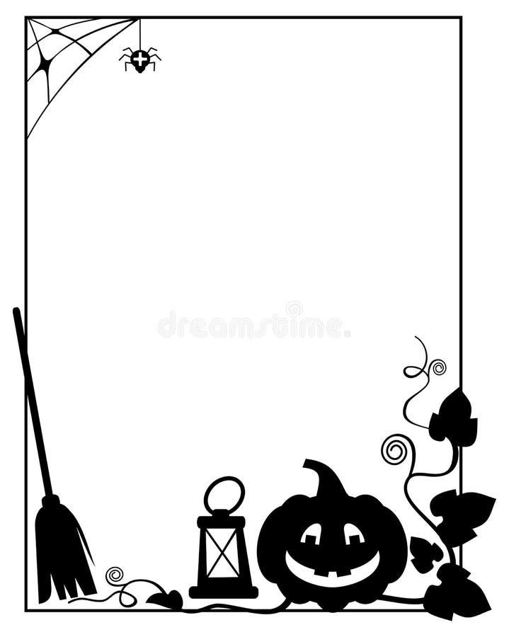 Marco Blanco Y Negro Con La Silueta De La Calabaza De Halloween ...