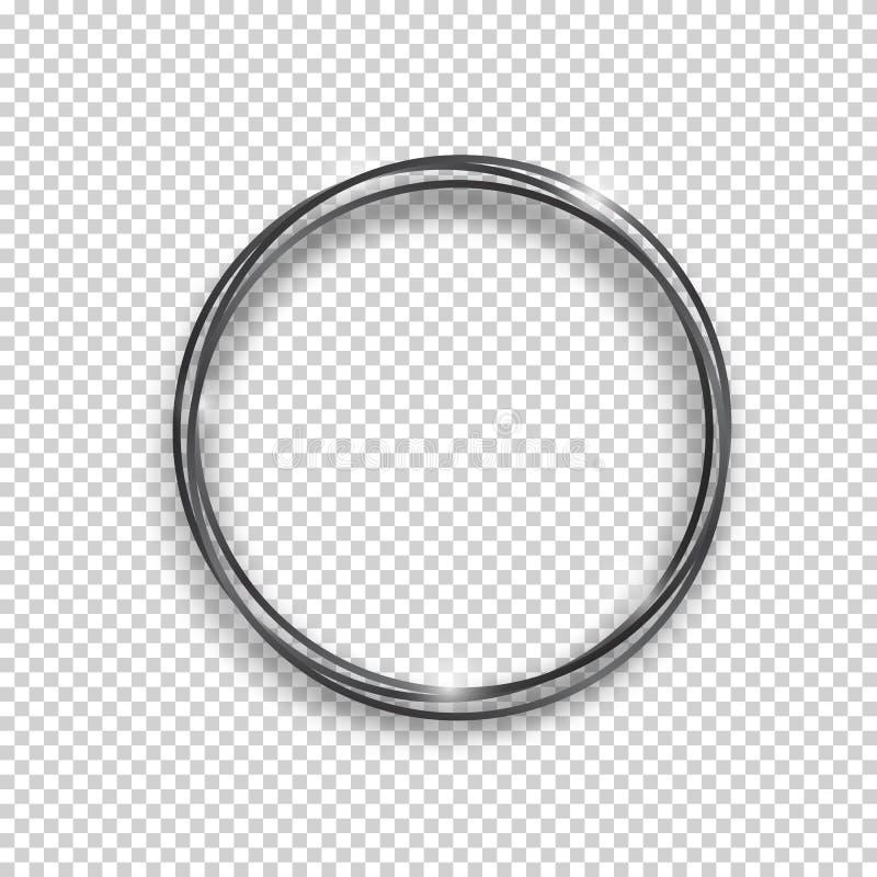 Marco brillante de la ronda del vintage del negro del vector aislado en fondo transparente ?valo realista que brilla intensamente stock de ilustración