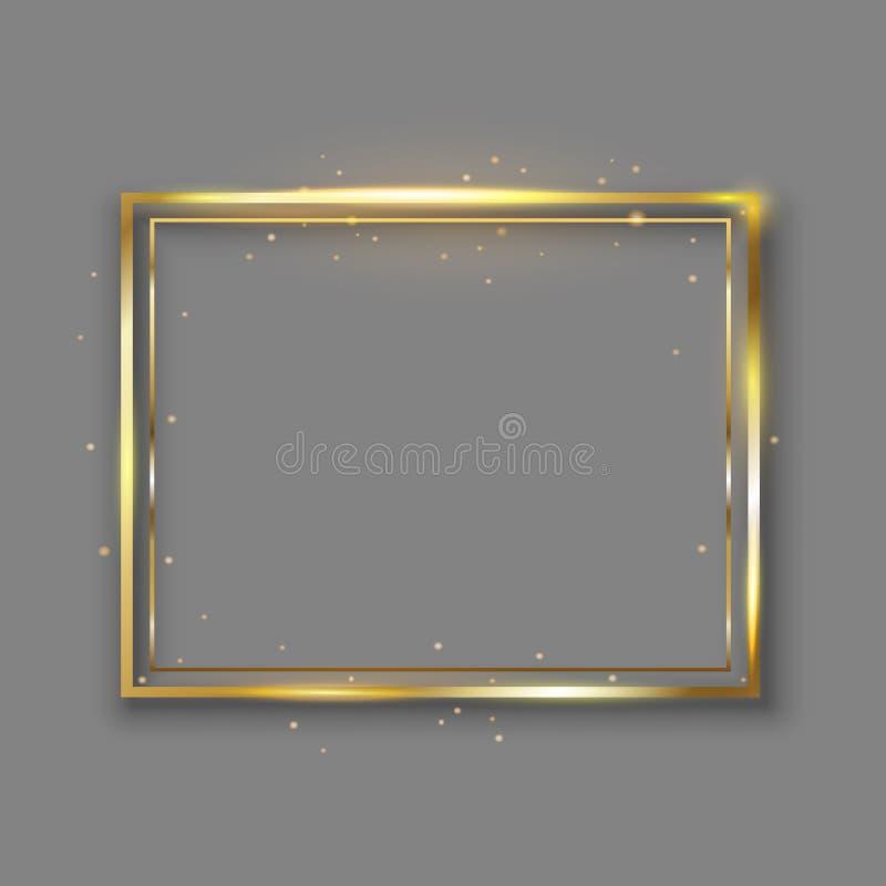 Marco brillante de lujo de oro del vintage que brilla intensamente con la reflexión y las sombras Vector común del oro de la fron ilustración del vector