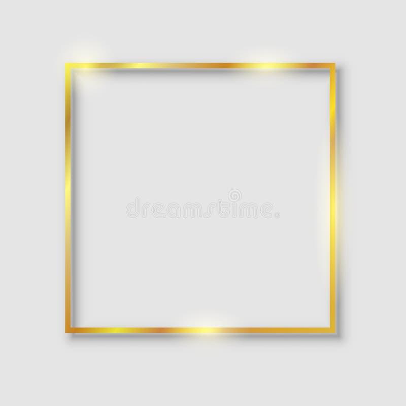 Marco brillante de lujo de oro del vintage que brilla intensamente con la reflexi?n y las sombras Vector del oro de la frontera d libre illustration
