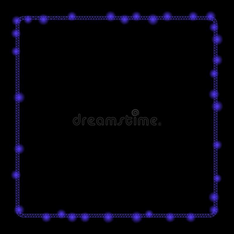 Marco brillante de Mesh Wire Frame Rounded Square con los puntos ligeros fotografía de archivo