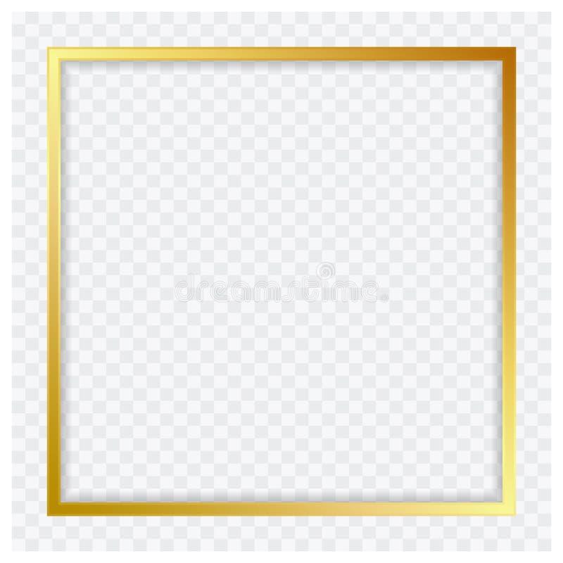 Marco brillante del color_gold moderno cuadrado del ilustrador del extracto del vector de la bandera libre illustration