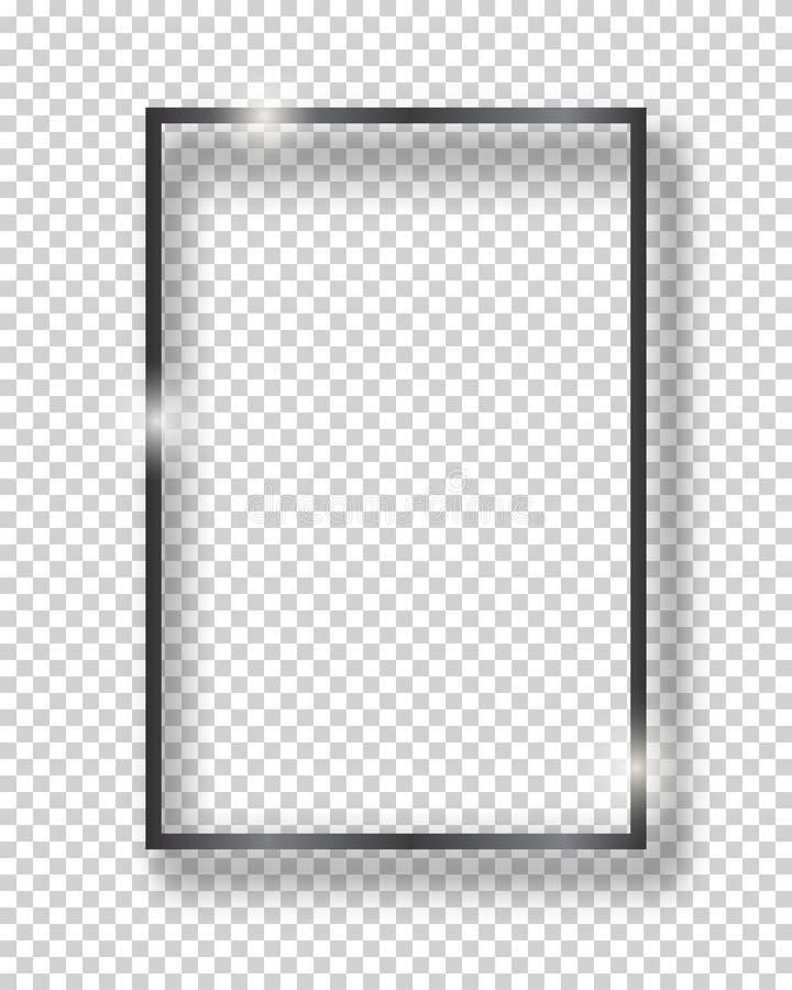 Marco brillante del cuadrado del vintage del negro del vector aislado en fondo transparente Frontera realista de lujo ilustración del vector