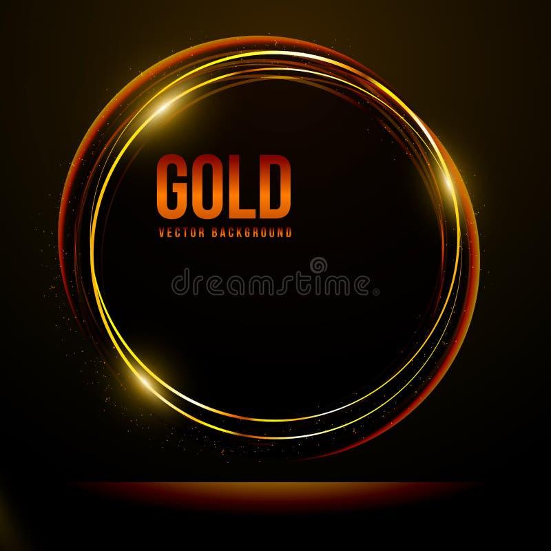 Marco brillante del efecto luminoso del círculo del oro en fondo negro: Ejemplo del vector, EPS 10 stock de ilustración