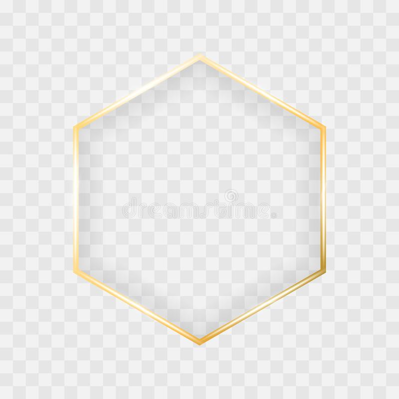 Marco brillante del hexágono del oro que brilla intensamente aislado en fondo transparente Frontera del vector para el diseño cre stock de ilustración